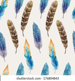 Watercolor seamless pattern with feathers. Vector illustration