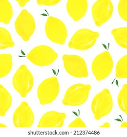 Watercolor seamless pattern with lemons on the white background. Vector illustration. Hand drawn background.