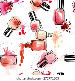 Watercolor seamless pattern with nail polish. Vector illustration.