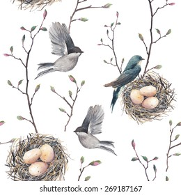 Watercolor seamless pattern with nest, birds and tree twigs. Vector hand drawn spring background. Vintage wallpaper with swallow and eggs