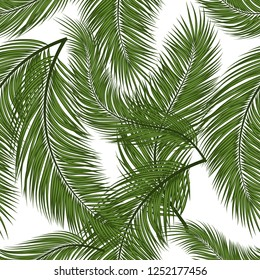 Watercolor seamless pattern with palms. Beautiful allover print with hand drawn exotic plants. Swimwear botanical design with tropical leaves. Surface design. Vector.
