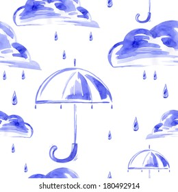 Watercolor seamless pattern with rain, cloud and umbrella. Vector.
