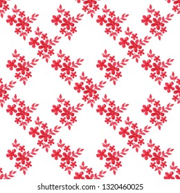 Watercolor seamless pattern with red flower on white background. Floral watercolor seamless background with flower and leaf.