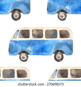 Watercolor seamless pattern with retro travel van