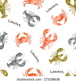 Watercolor seamless pattern with seafood on white background. Vector illustration.