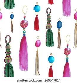 Watercolor seamless pattern with tassels