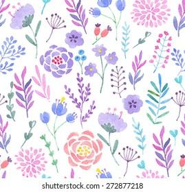 Watercolor seamless pattern. Vector illustration.