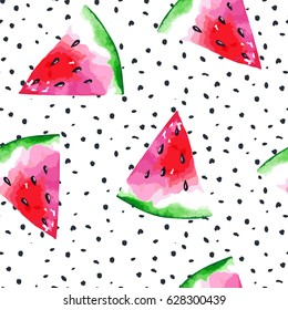 Watercolor seamless pattern with watermelon. Vector illustration