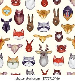 Watercolor seamless pattern with wild animals heads. Cute handrawn animals, perfect for kids apparel and textile. Vector illustration for t-shirt, fabric, wrapping and wallpaper design.