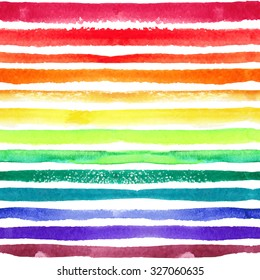Watercolor seamless pattern,background.Rainbow color strips,Texture line border.Hand drawing artistic paint art. Bright design template.Vector summer decor elements.For fabric,wrap ornament