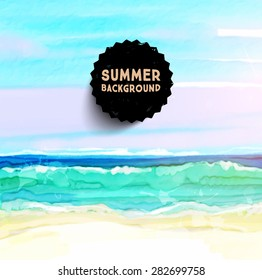 Watercolor Seascape for Summer Holidays Design.