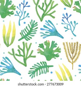 Watercolor seaweeds seamless pattern