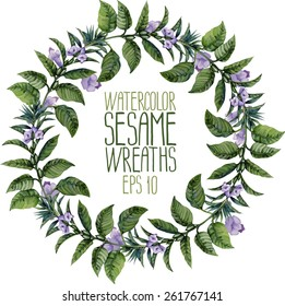 Watercolor sesame wreath. Vector floral frame isolated on white background