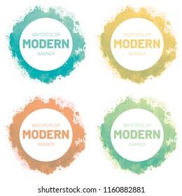 Watercolor set banner. Modern art design vector illustration.