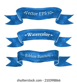 Watercolor set of blue ribbon banners. Vector illustration. Isolated.