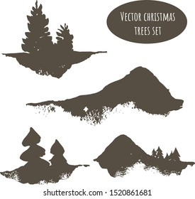 Watercolor set of cute winter trees of a Christmas tree, pine, cedar and black-brown mountains. Hand drawn isolated on a white background. For the design of postcards, posters