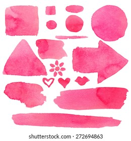 Watercolor set of isolated on white background pink paint stains, brush strokes, hearts, arrow, flower, lipstick kiss, circles, squares, triangle, stripes, lines. Hand painting on paper