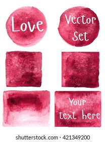 Watercolor set of objects. Burgundy, red. Round, square, rectangle. Vector.