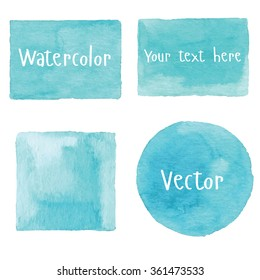 Watercolor set of objects. Light blue watercolor. Vector