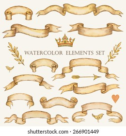 Watercolor set of ribbons for your design, vector illustration.