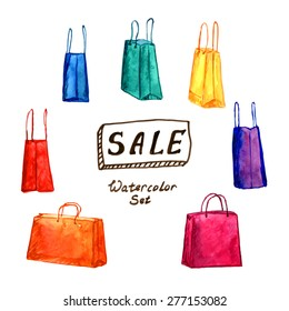 Watercolor set of shopping bags with big SALE banner. Vector illustration. Shopping bag, Shopping bag icon, Shopping bag for Shopping center, Shopping bag, Shopping bag vector, Shopping bag sketch