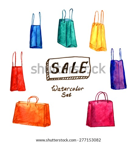 fa779d96bc Watercolor set of shopping bags with big SALE banner. Vector illustration.  Shopping bag