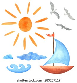 Watercolor set sun, clouds, waves, yacht, bird seagull  isolated on white background. Hand painting on paper