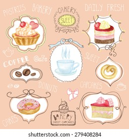 Watercolor set of sweet cakes,cupcakes,coffee,cap  in labels, stickers, badges. Vintage cute card,logo  with doodle decor and lettering.Hand painted Vector illustration.For cafe,holiday poster,