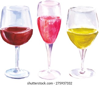 A watercolor set of three wine glasses (with red wine, sparkling rose and white wine), scalable vector graphic