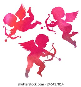 watercolor silhouette of an angel.watercolor painting on white background