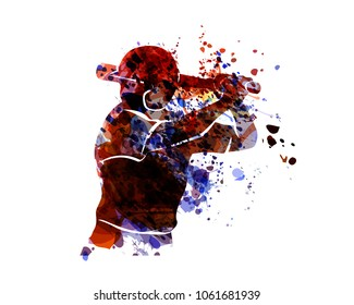 Watercolor silhouette baseball player. Vector illustration