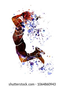 Watercolor silhouette of basketball player. Vector illustration