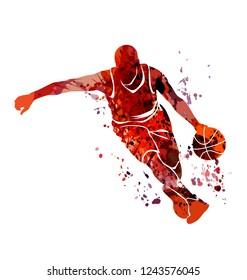 Watercolor silhouette basketball player. Vector illustration.