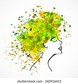 Watercolor silhouette of beautiful women with long green and yellow hair isolated on white. Fashion illustration