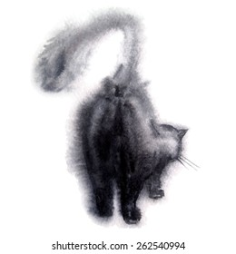 watercolor silhouette of the cat