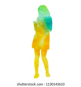 watercolor silhouette girl with telephone