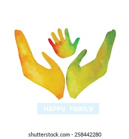 Watercolor silhouette of human hand and baby's handprint. Logo of happy family.