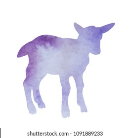 watercolor silhouette of a lamb