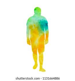 watercolor silhouette man is walking