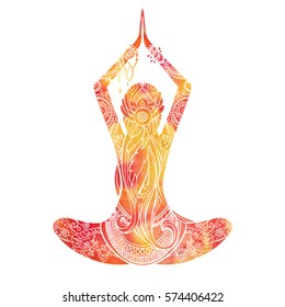 Watercolor silhouette of yoga woman with mehendi, zentagle ornament. on the white background - ayurveda, spirituality, yoga symbol. Lotus pose. Vector illustration, logo, template.