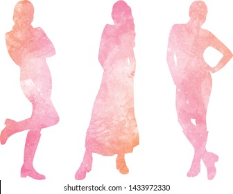 Watercolor silhouettes of women, vector