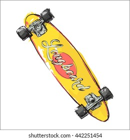 Watercolor skateboard. Sketch style. Vector.