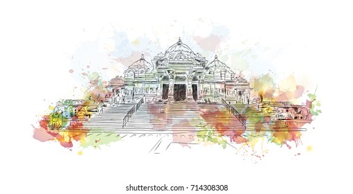 Watercolor sketch of Akshardham Temple New Delhi India in vector illustration.