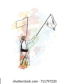 Watercolor sketch of Arab man flaying flag in vector illustration.