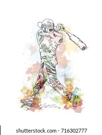 Watercolor sketch of Baseball player playing Baseball in vector illustration.