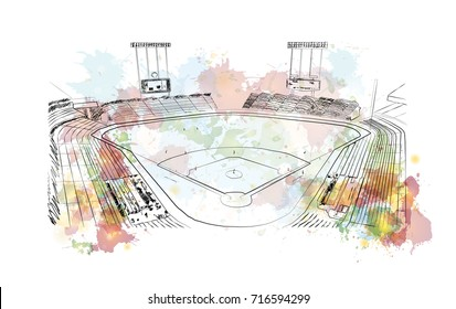 Watercolor sketch of Baseball Stadium in vector illustration.