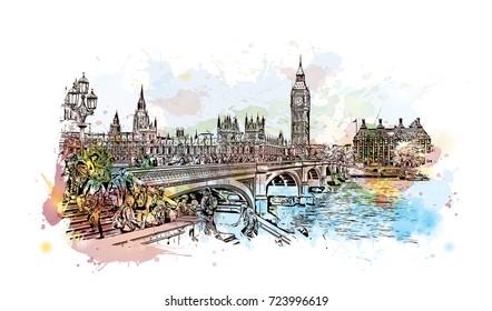 Watercolor sketch of Big Ben London, UK (United Kingdom, England) in vector illustration.