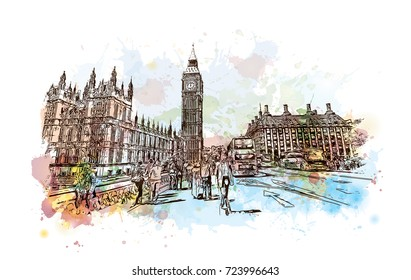 Watercolor sketch of Big Ben London, UK (United Kingdom, England) in vector illustration.