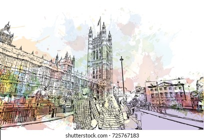 Watercolor sketch of Big Ben London, the capital of England and the United Kingdom in vector illustration.