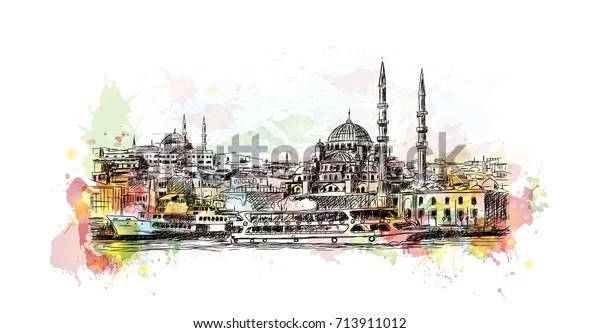 Sultanahmet Camii Istanbul Turkiye Nin Vektor Illustrasyonunda